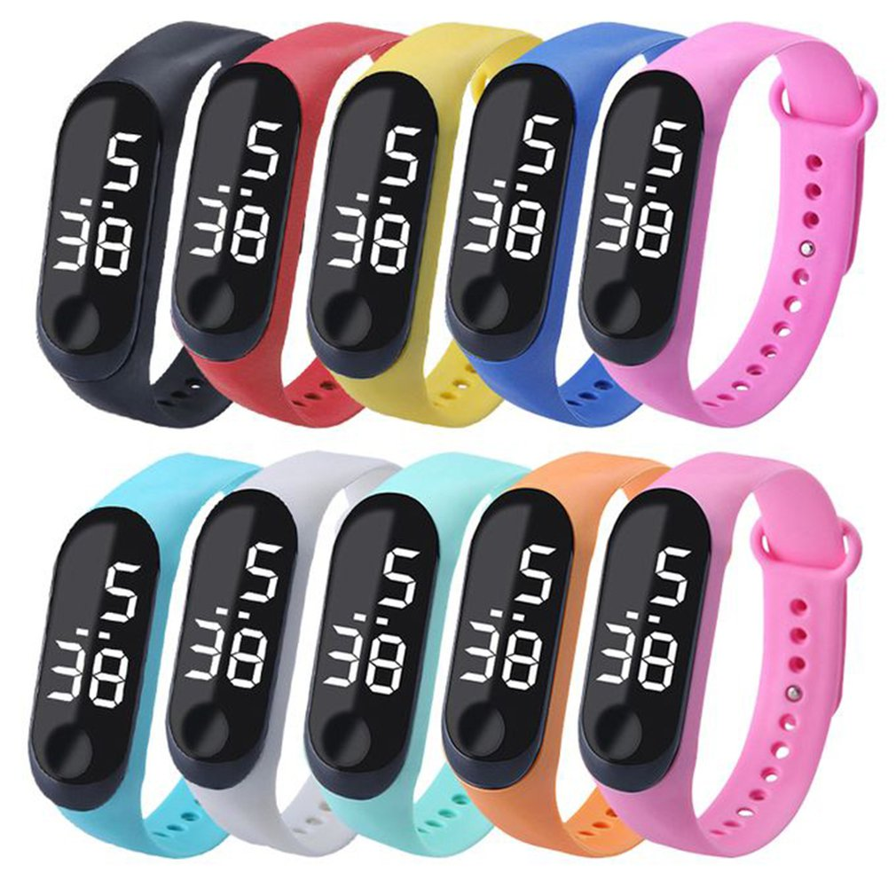 LED Electronic Digital Bracelet Watches Casual Sports Watch Candy Color Silicone Couples Wrist Watch