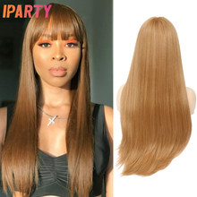 Perruque Blonde miel synthétique avec frange 28 pouces de Long perruques de couleur droite pour les femmes résistant à la chaleur fibre partie Cosplay perruque IPARTY