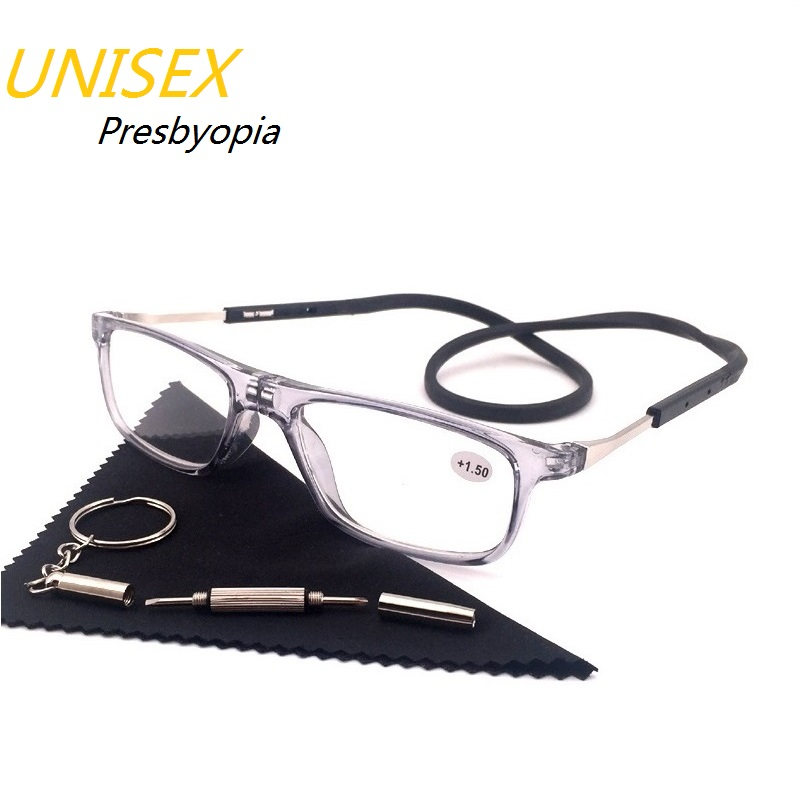 Hanging neck Magnet Reading Glasses Folding Presbyopic Men Women Soft Silicone Magnetic Vintage Eyeglasses 1.0 1.5 2.0 2.5 3.0 image