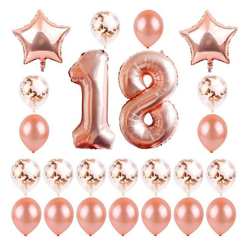 24 teile/los Them1618 20 40 <font><b>50</b></font> <font><b>60</b></font> th Geburtstag Party Dekorationen Happy Birthday Balloons Rose Gold Anzahl Ballons Ballons Kinder erwachsene image