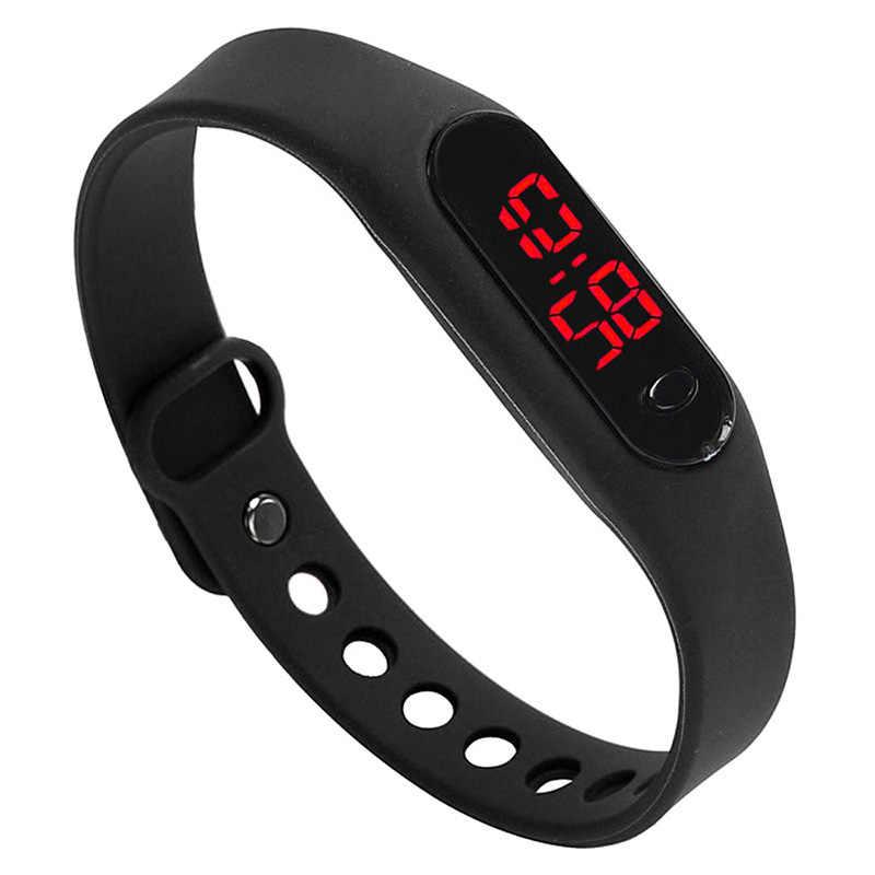 HotFashion LED damski męski data sportowy zegarek z bransoletką gumowy cyfrowy nadgarstek zegarki czarny