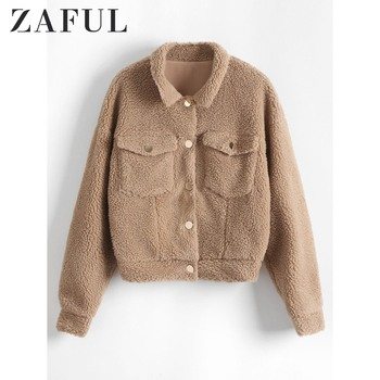 ZAFUL Snap Button Solid Faux Fur Jacket Snap Pockets Jacket Wide-Waisted Shirt Collar Solid Embellishment Drop Shoulder Jacket фото