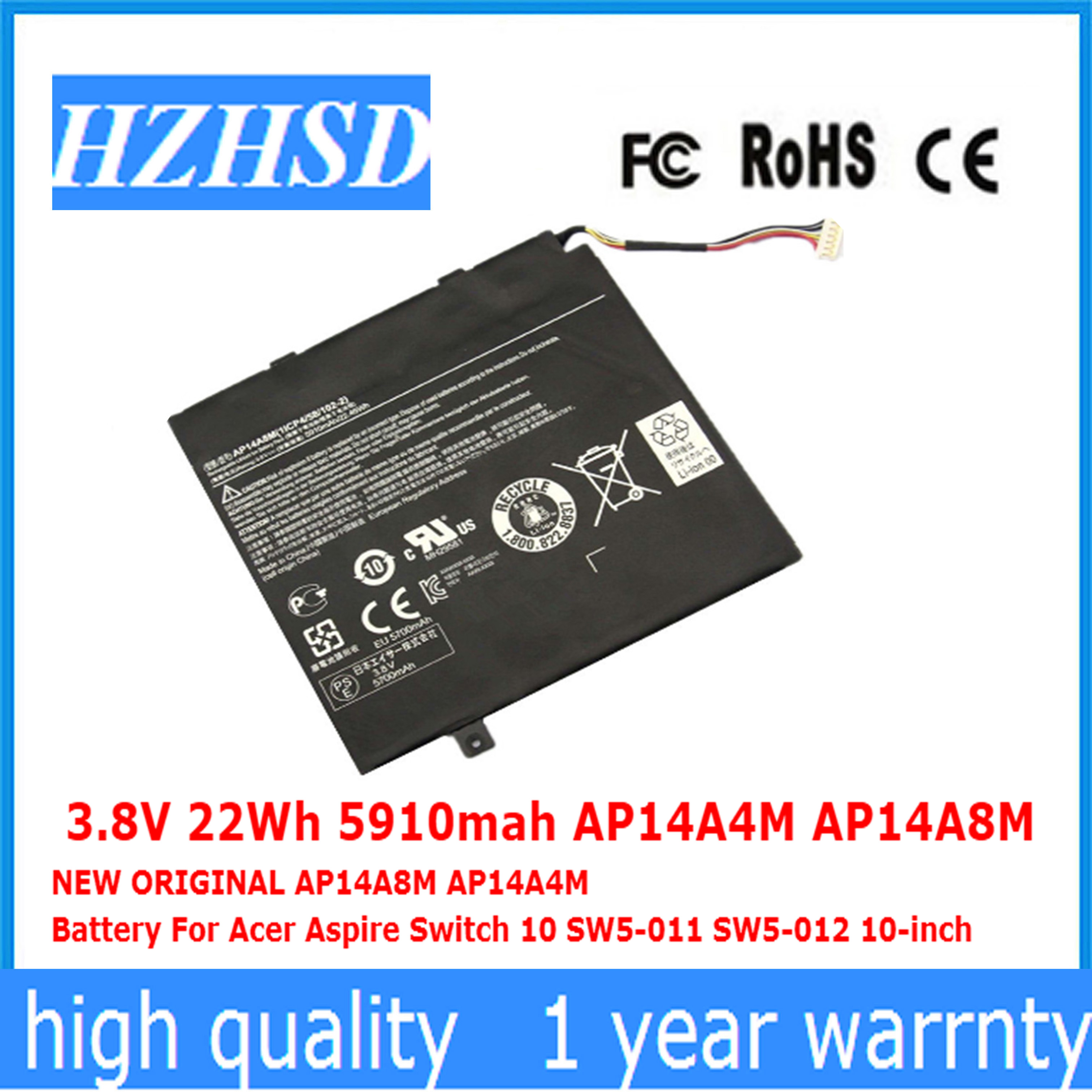 3.8V 22Wh 5910mah AP14A4M AP14A8M NEW ORIGINAL AP14A8M AP14A4M Battery For Acer Aspire Switch 10 SW5-011 SW5-012 10-inch