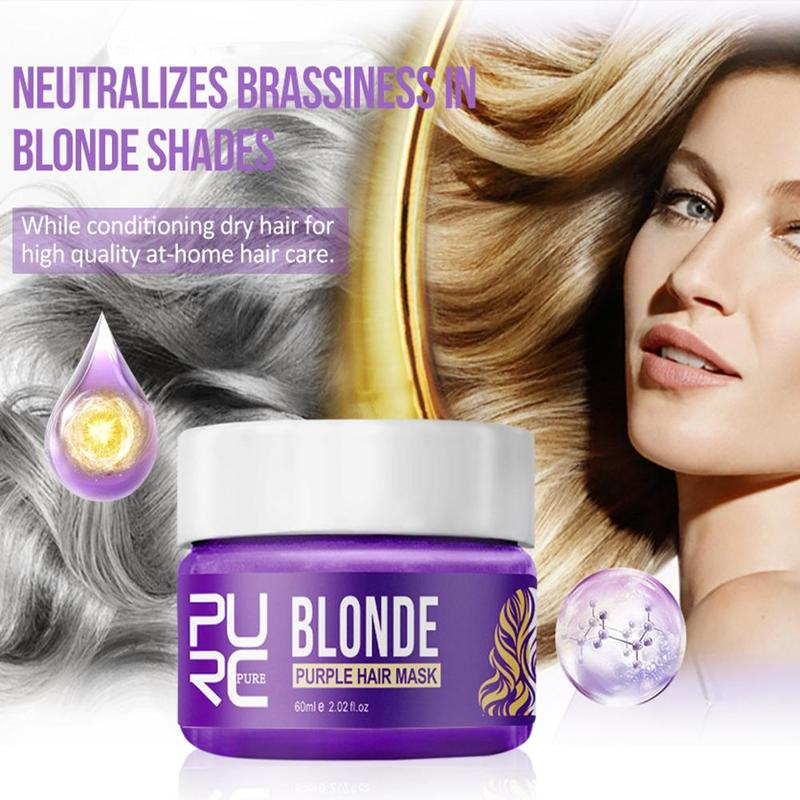 Purc Purple Hair Mask Repairs Frizzy Make Hair Soft Smooth Removes Yellow And Brassy Tones 60ml Magical Treatment Hair Mask 2