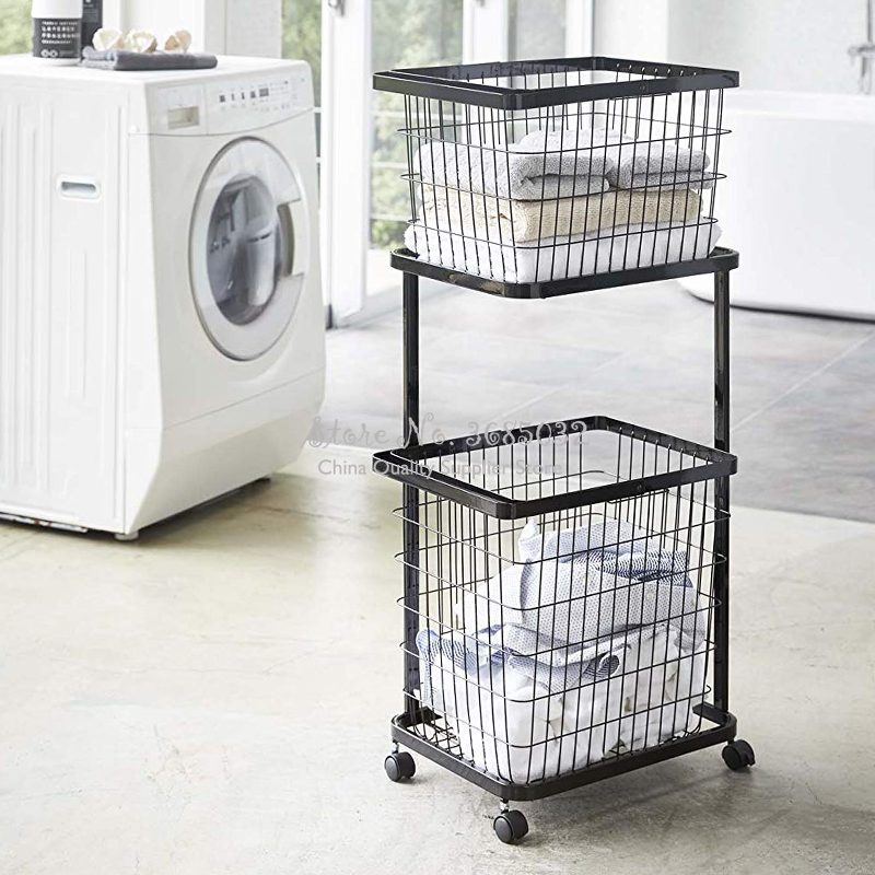 2 Layers Cloth Storage Basket Rack Bathroom Floor Stand Clothing Storage Sundries Iron Art Laundry Storage Basket with wheel