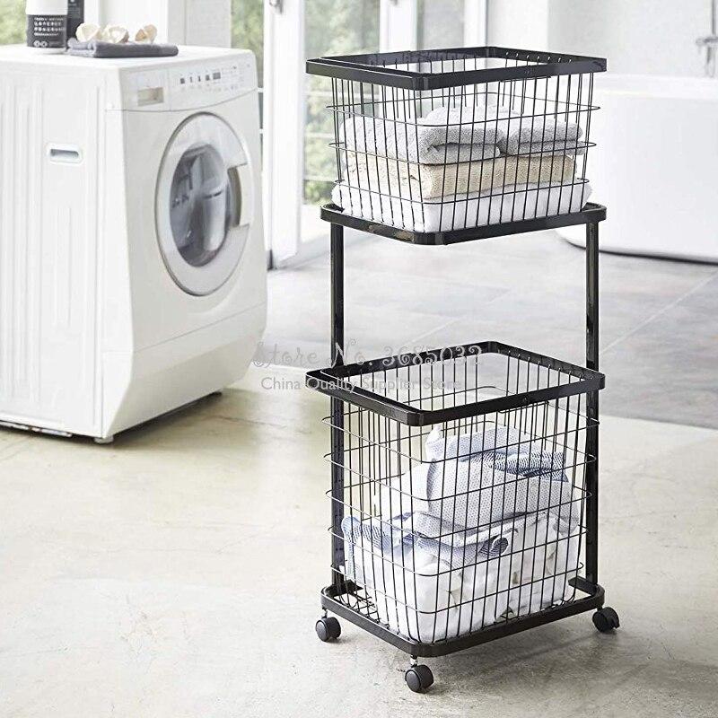 2 Layers Cloth Storage Basket Rack Bathroom Floor Stand Clothing Storage Sundries Iron Art Laundry Storage Basket with wheel