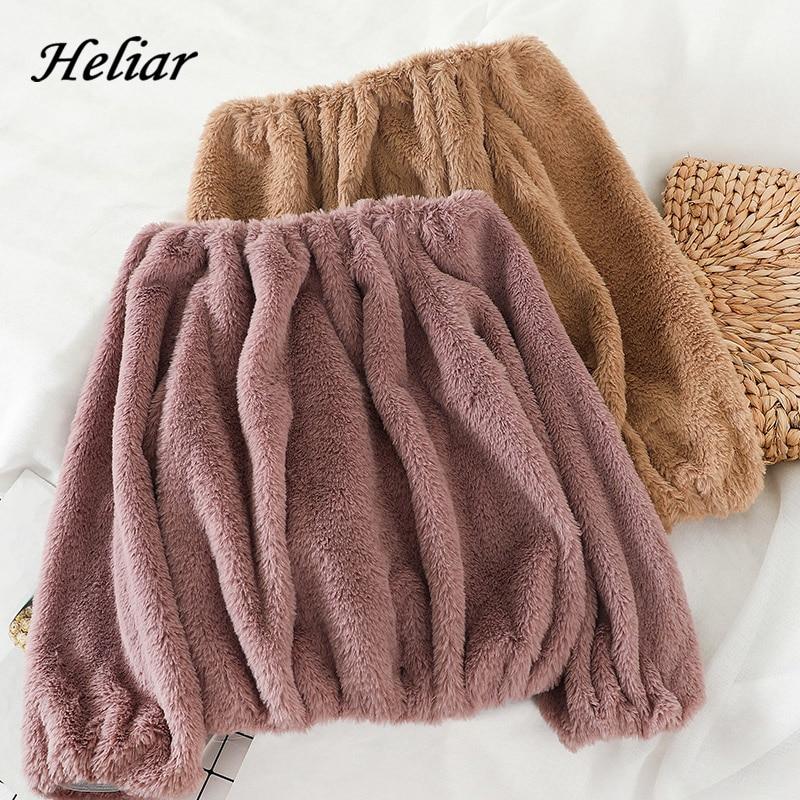 Heliar Women Spring Slash Shoulder Velvet Sweater Underwear Tharmel Sweater Women Casual Solid Knitting Pullovers Sweater Women