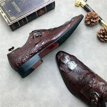 QYFCIOUFU Alligator Skin Men Shoes For Wedding Genuine Leather Suit Men Buckle Oxford Shoes Lace-Up Business Formal Dress Shoes