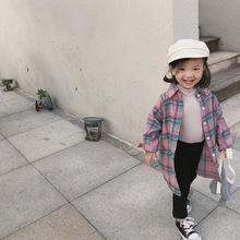 XINI MOMMY 2020 Spring  Autumn Children's plaid shirt With thick cotton  girls blouse Fashion Turn-down Collar  girls shirts girls plaid blouse 2019 spring autumn turn down collar teenager shirts cotton shirts casual clothes child kids long sleeve 4 13t