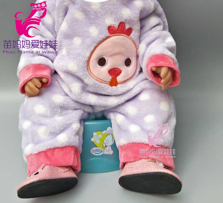 Purple cartoon fur winter clothes set for 43cm 18 inch  baby doll outfits also suit for 18 inch girl dolls jumpsuits