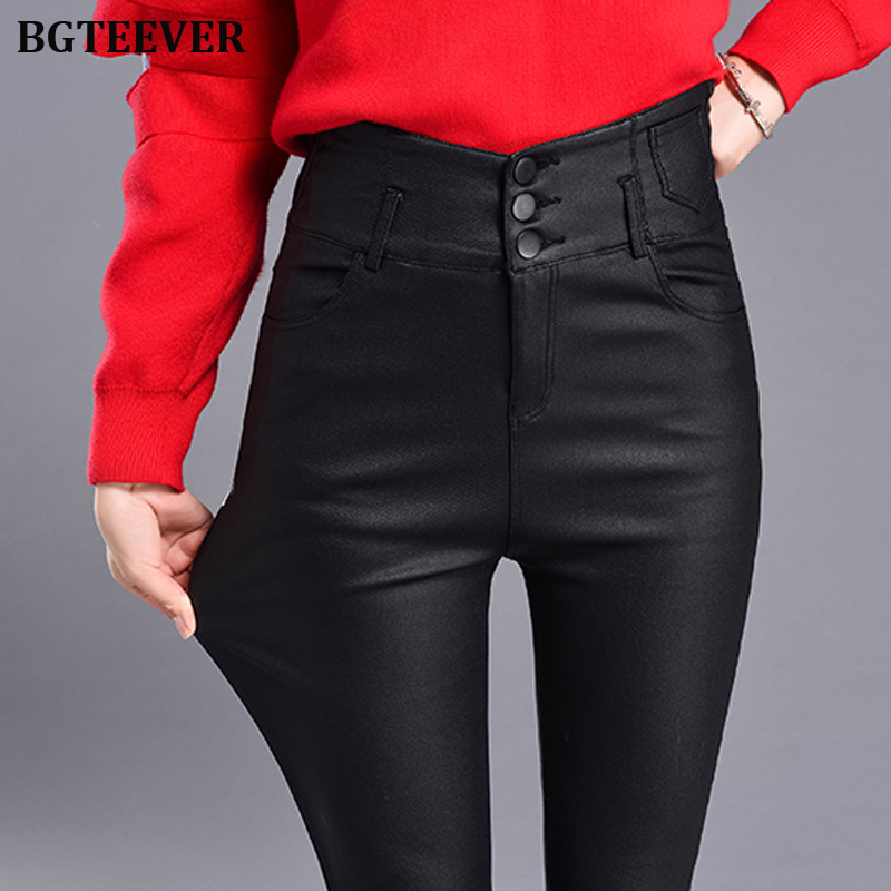 BGTEEVER Winter Women's Leather Pants Women Female Thicken High Waisted Pants Women PU Skinny Stretch Pencil Pantalons 2019