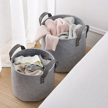 Foldable Large Felt Washing Clothes Bathroom Bedroom Laundry Basket Bin Hamper Storage Bags Dirty Clothes Baskets S L