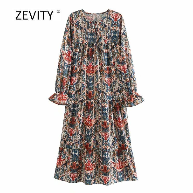 Zevity Women vintage totem flower vestios print casual loose midi dress female Chic lace up round collar straight Dresses DS4084