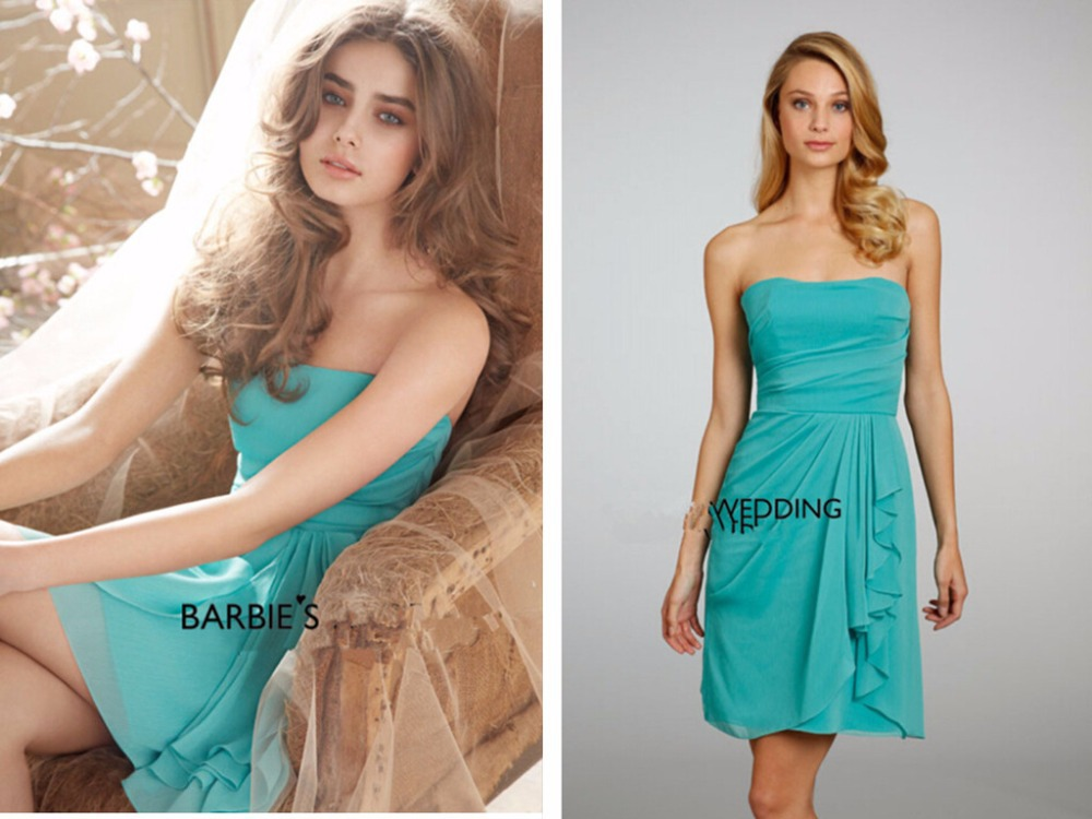 Free Shipping Bride Dress 2016 New Hot Vestido De Festa Casamento Chiffon Short Mini Blue Chstom Chiffon Bridesmaid Dresses