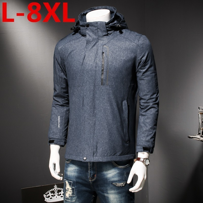 Plus Size  8XL 7XL 6XL 5XL New Winter Men's Jacket With High Quality Fabric Detachable Hat For Male's Warm Coat Simple Mens Coat