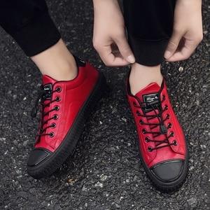 Image 5 - 2020 패션 남자 캐주얼 신발 PU 가죽 스 니 커 즈 남자 플랫 Vulcanized 신발 야외 Zapatos 드 Hombre 블랙 레드 화이트 zapatila
