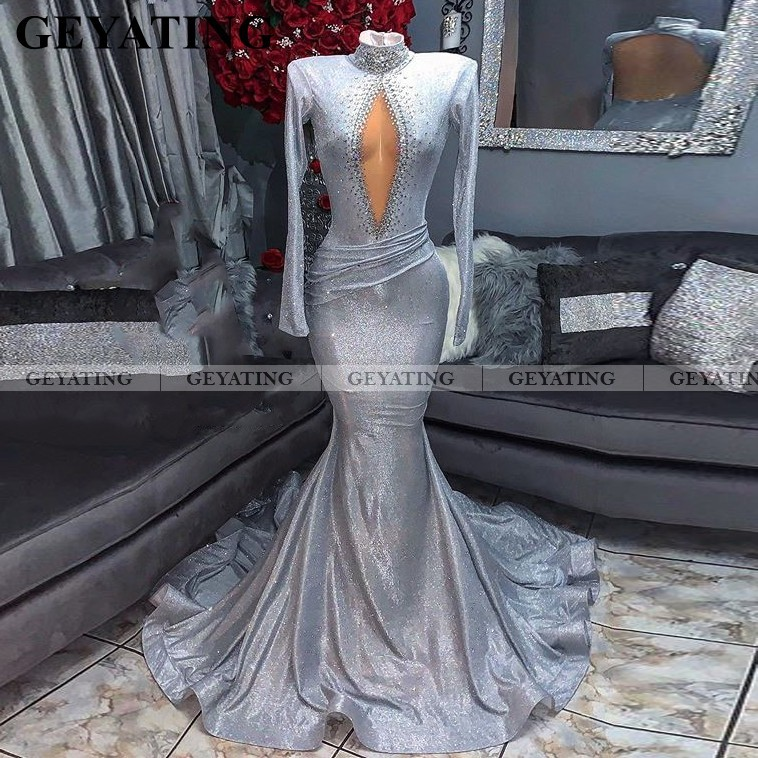 Glitter Sequin Black Girls Silver Prom Dresses Long Sleeves High Neck Sexy Backless African Formal Dress Long Graduation Gowns