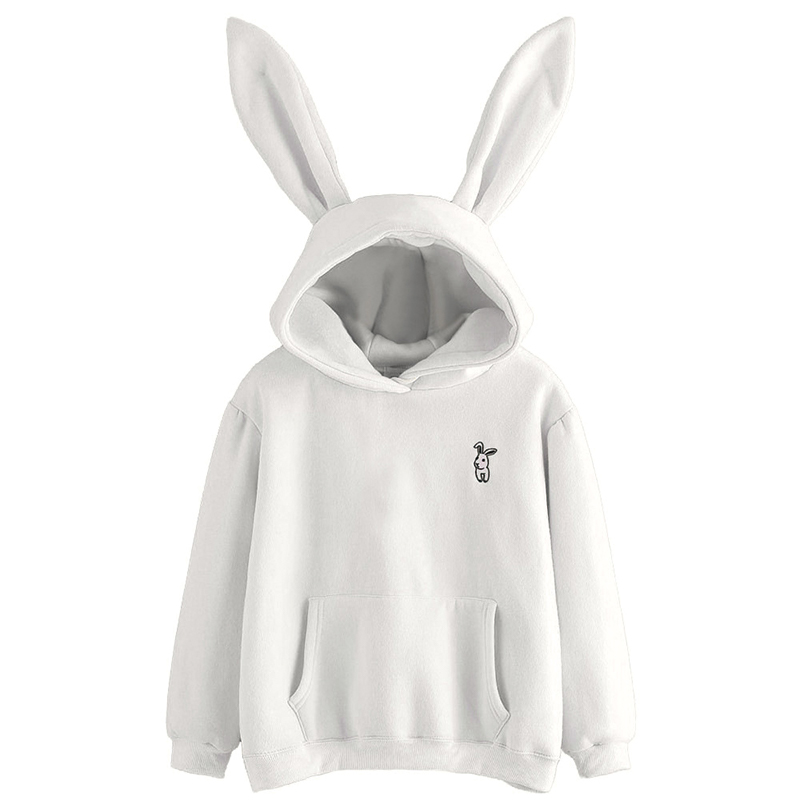 QRWR 2020 Autumn Winter Women Hoodies Kawaii Rabbit Ears Fashion Hoody Casual Solid Color Warm Sweatshirt Hoodies For Women 2