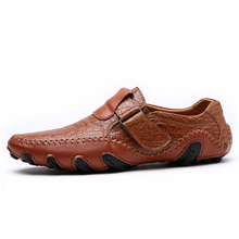 Hot Sale Leather Shoes Men Casual Waterproof Moccasins Loafers Slip-on
