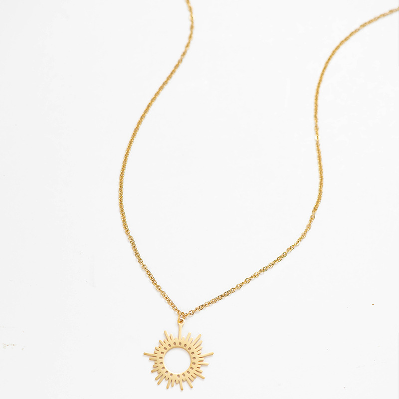 Fashion Gold Geometric Round Irregular Sun Necklace For Women Stainless Steel Hollow Round Sweater Pendant Necklace Jewelry Gift