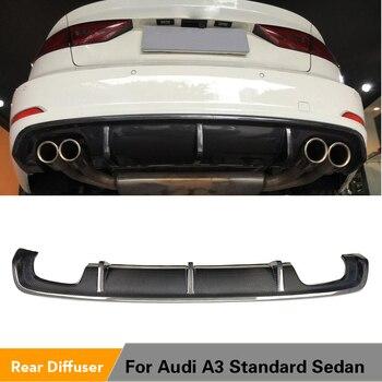 Carbon Fiber / FRP Rear Bumper Lip Diffuser Spoiler for Audi A3 Standard Sedan 8V 2014 - 2016 Non Sline Four Outlet Exhaust