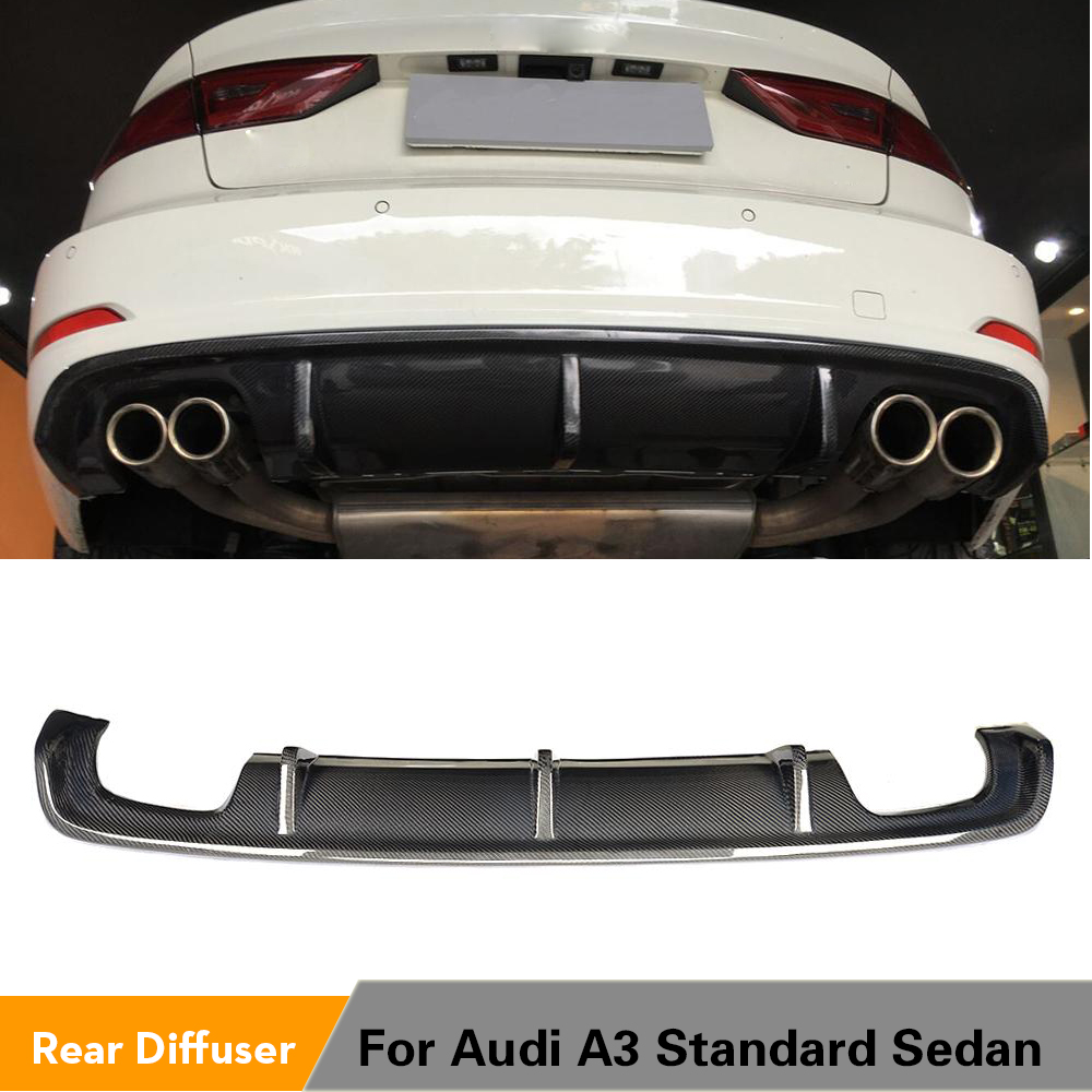 Carbon Fiber / FRP <font><b>Rear</b></font> Bumper Lip <font><b>Diffuser</b></font> Spoiler for <font><b>Audi</b></font> <font><b>A3</b></font> Standard Sedan 8V 2014 - <font><b>2016</b></font> Non Sline Four Outlet Exhaust image
