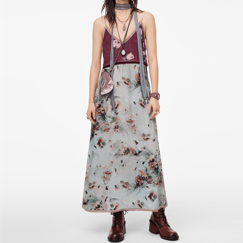 2020 Za Print Tank Dress Women V-neck Thin Straps Party Dress Contrasting Beading Interior Lining Elegant Side Vent Maxi Dresses