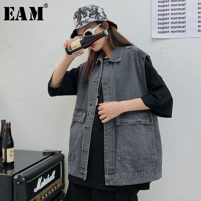 [EAM] 2019 New Spring Stand Collar Sleeveless Single Breasted Personality Split Joint Big Size Vest Women Fashion JG858