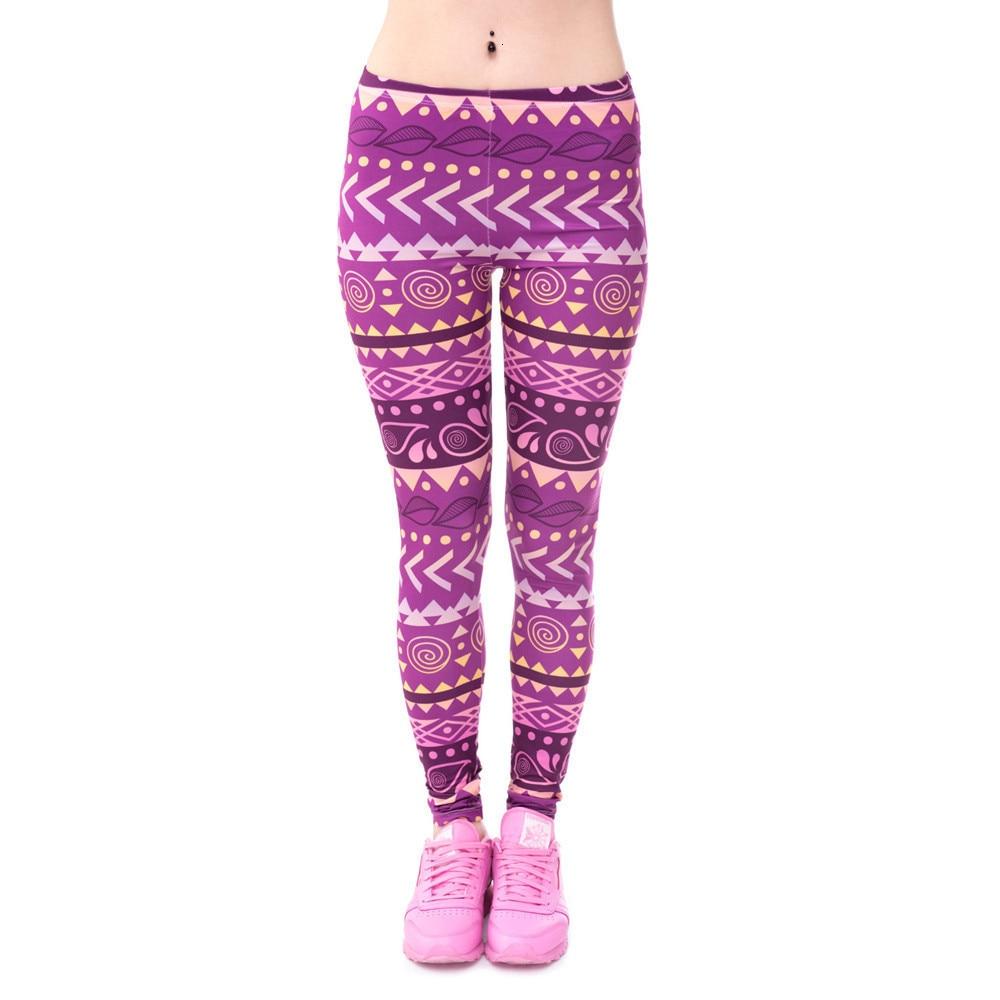Brands Women Fashion Legging Aztec Round Ombre Printing leggins Slim High Waist  Leggings Woman Pants 64