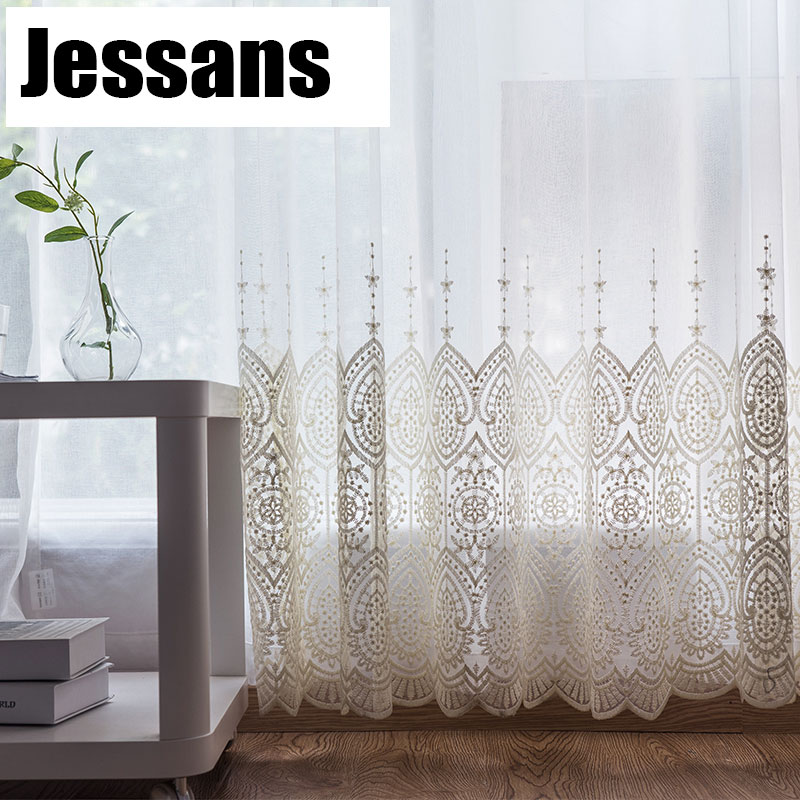 Delicate Embroidered Tulle Curtains For Living Room Luxury White Sheer Volie Window Curtain For Bedroom Lace