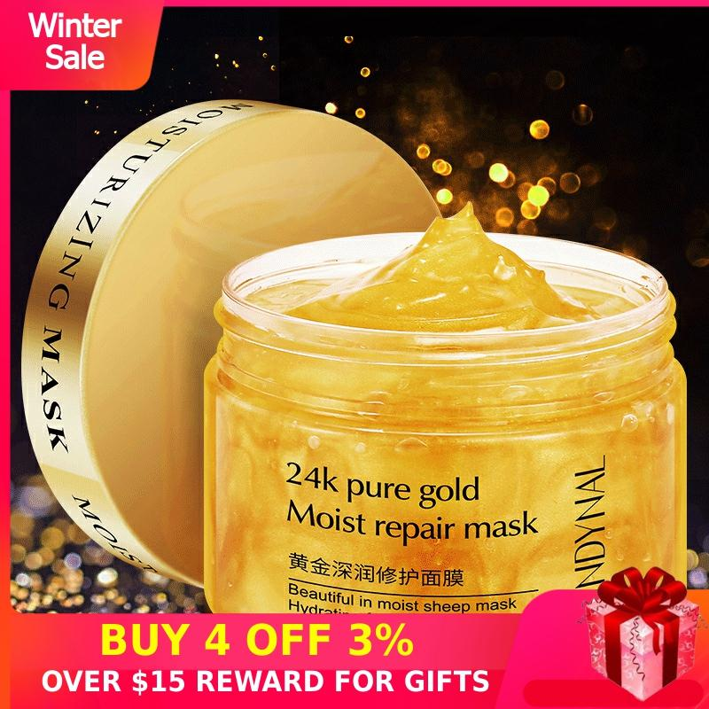 24K Gold Sleep Night Mask Face Day Cream Korean Skin Care Products Moisturizing Whitening Sleeping Facial Masks Hydrating Girl P