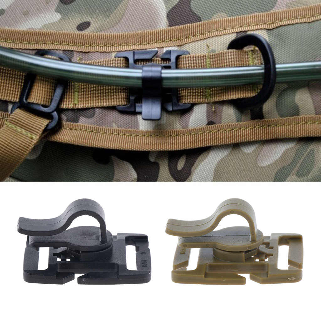 Outdoor Hydration Pack Waterzak Drinken Tube MOLLE Webbing Clip Houder Plastic Dia. 8-10mm