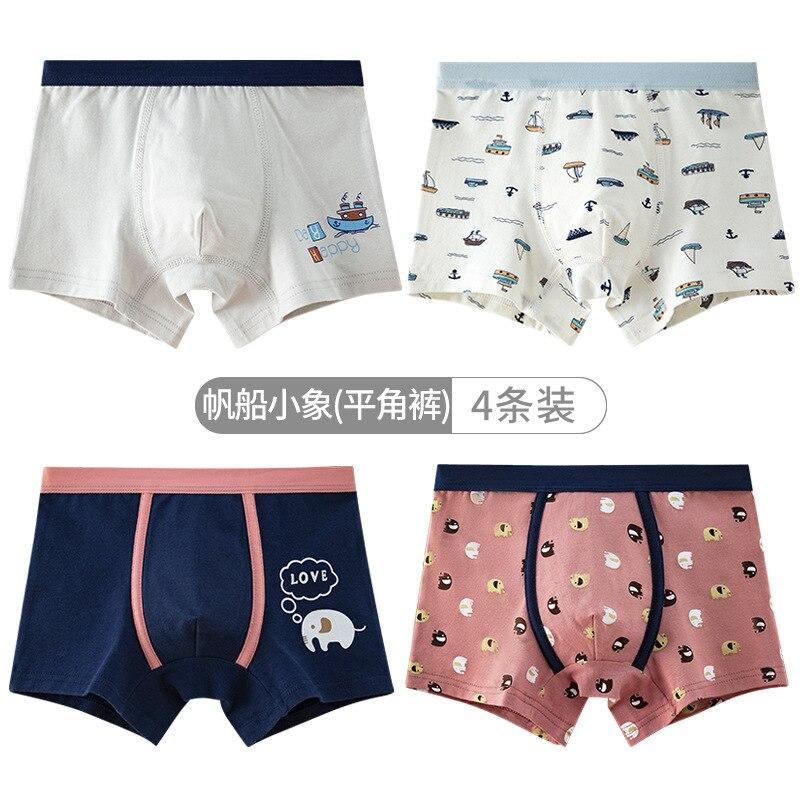 Boys Short Panties 4pcs Per Pack Baby Cotton Underwear Teen Kids Underpant KF331 4