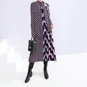 Image 2 - Женское платье с принтом EAM, свободное платье с длинными рукавами и бантом, весна осень 2020, 19A a872
