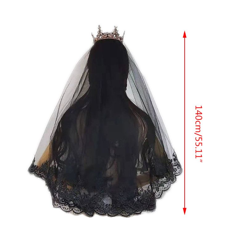 Women Black Wedding Veil Embroidered Mantilla Floral Lace Trim Cosplay Headdress