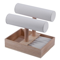 2 Layer Wooden T Bar Bracelet Watch Jewelry Stand Display, Jewelry Tray Rack Stand Organizer with Wood Tray