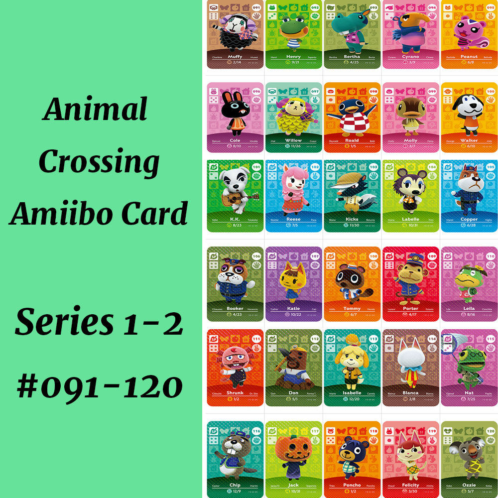 Series 1&2 (091-120) Animal Crossing Card Work For NS Game Support NFC 3DS Amiibo Card