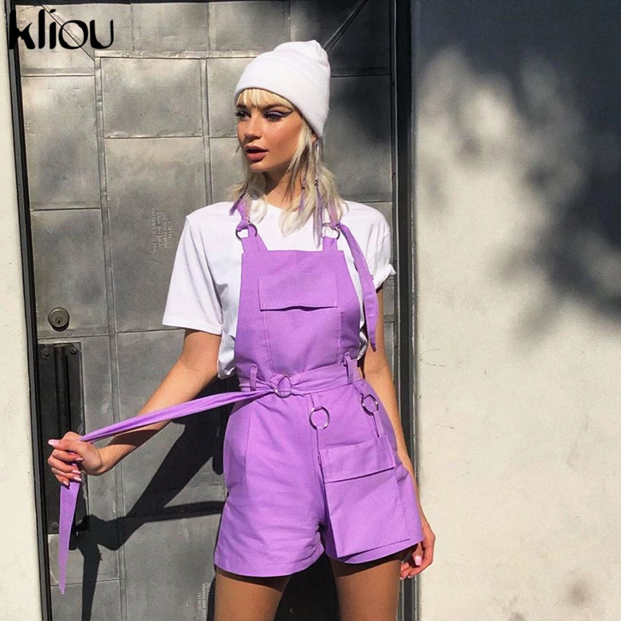 Kliou Women Fashion Overalls Strap Shorts Casual Solid Color Elastic Waist Sashes Pockets Short Trousers Street Work Out Bottom