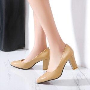 Image 5 - Модные Классические женские туфли лодочки; Элегантные туфли на высоком каблуке; Женские офисные свадебные туфли из искусственной кожи телесного, красного, черного цвета
