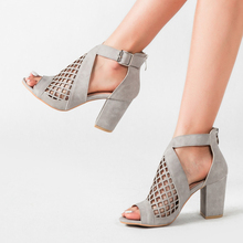 Grid Women's Shoes High Heels Sandals Cut-out Roman Shoes Female Outdoor Casual Square High Heel Zip-Back Dress Shoes Ladies cut out zip up back cami dress