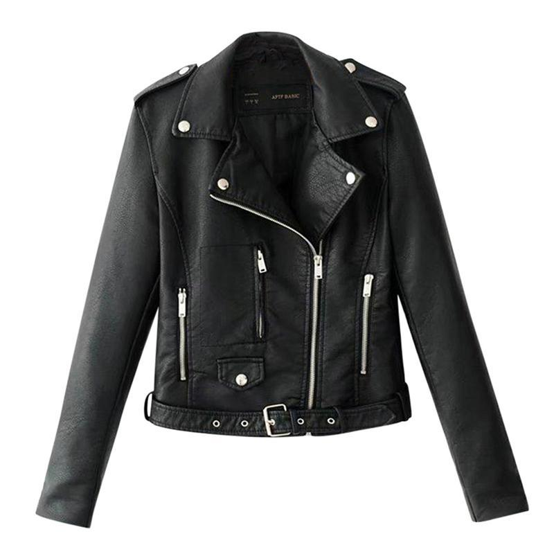 2019 Autumn Women Black Slim Cool Lady Pu Leather Jackets Sweet Female Zipper Faux Femme Outwear Coat Plus Size Short Jackets