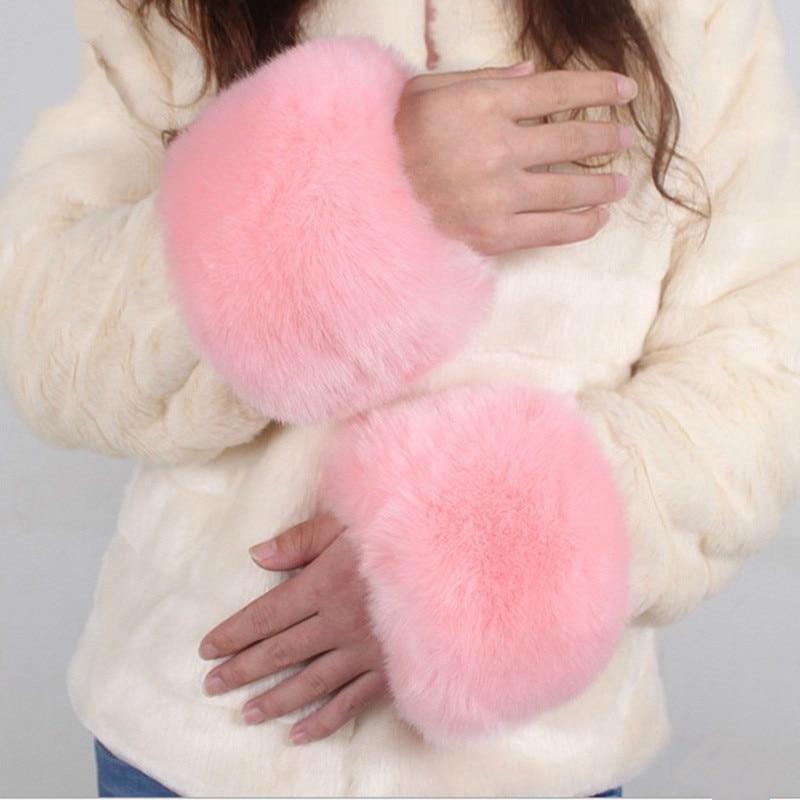 Winter Women Faux Fur Gloves Bracelet Sleeve Wrist Set Cover Hands And Feet Warm Windproof Decoration Glove Fingerless Gloves