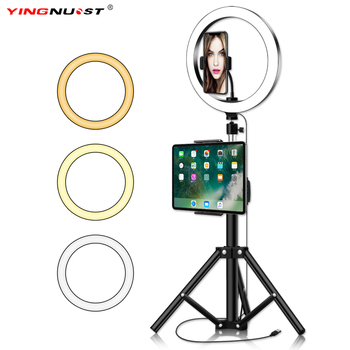 10inch Ring Light With Tripod Stand Phone Holder For iPad  Photography Studio Video LED Ring Lamp 5600K With USB Plug For Makeup