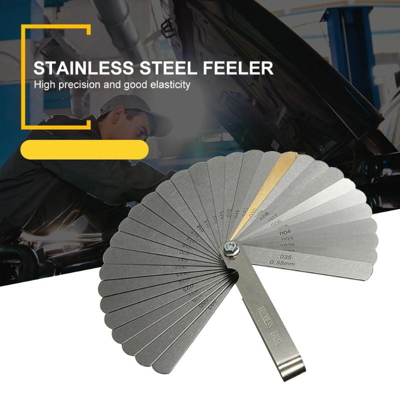 Stainless Steel Feeler Gauge 32 Blades Scale 0.04-0.88mm Thickness Gap Metric Imperial Filler For Pressure Gauge Valve Gasket