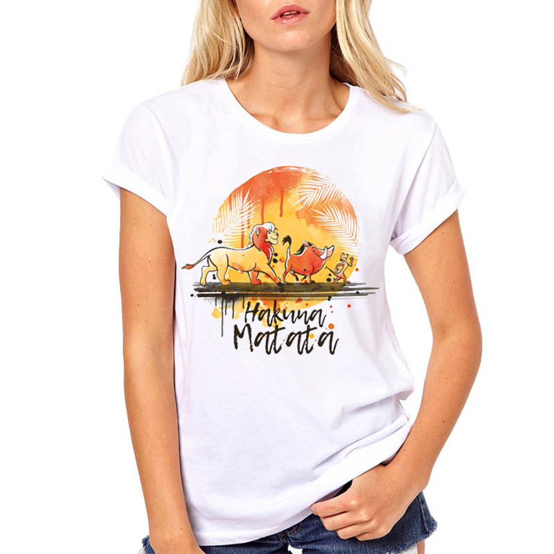 Women Tshirt Watercolor <font><b>Hakuna</b></font> <font><b>Matata</b></font> <font><b>Lion</b></font> <font><b>King</b></font> Print Woman Camisas Mujer Top Tee Shirt Harajuku Kawaii T Female T-shirt image