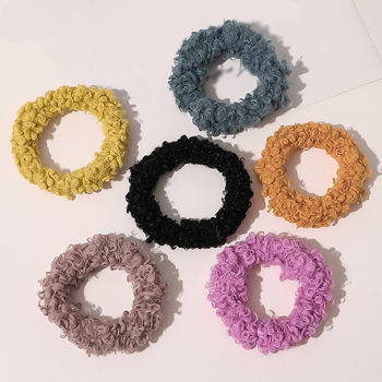 Curly Faux Fur Hair Scrunchies Candy Color Rubber Band Fluffy Elastic Hair Band Lamb Wool Autumn Hair Rope Plush Accessories image