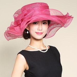 Женская шляпка Mingli Tengda, красная розовая шляпа с большими полями, свадебная повязка на голову с цветами, вечерние шляпы Sombrero Boda Marseille