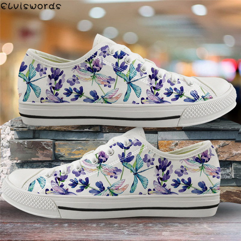 ELVISWORDS Dragonfly Flower Print Women Spring Flats Canvas Vulcanize Shoes For Fashion Ladies Low Top Walking Footwear Students