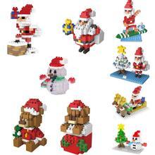 hot LegoINGlys creators Funny creator winter Santa Claus Snowman bear figures mini micro diamond building block model brick toys