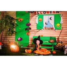 NeoBack Halloween Theme Baby Newborn Photography Backdrops Indoor Pumpkin Light Children Photo Props Studio Booth Background